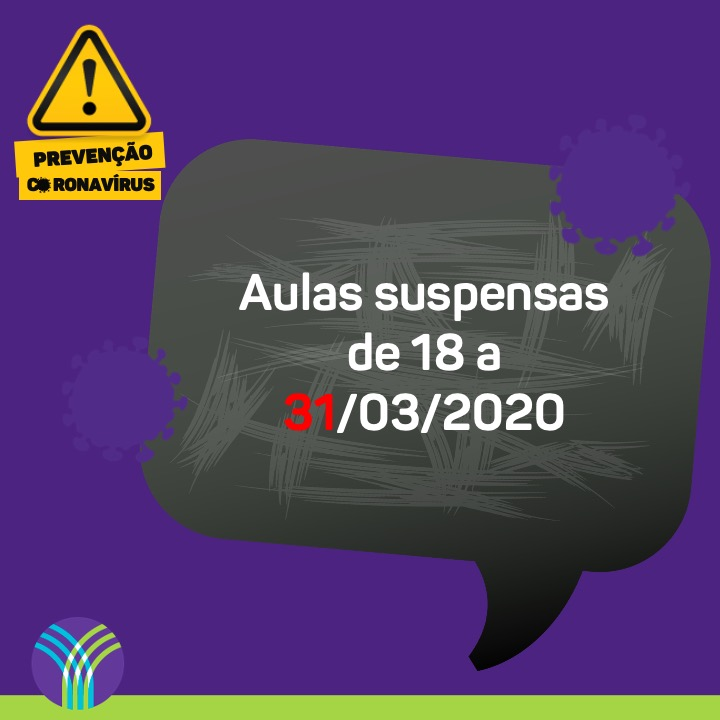 Coronavírus: aulas suspensas de 18 a 31/03/2020