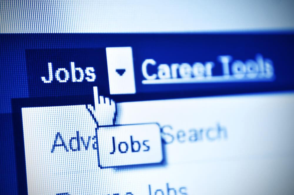 Tela de site de procura de vagas de emprego